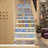 AmazingWall Ceramic Tiles Retro Staircase Sticker Stair Decor DIY Step Decal Peel and Stick Removable Wallpaper 7.1x39.4 x 13 Pcs