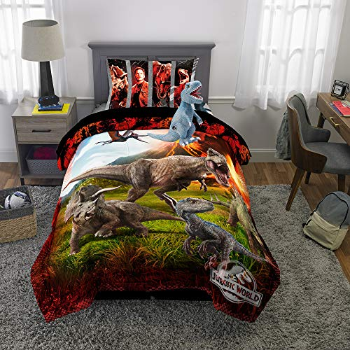 Universal Jurassic World Soft Microfiber Comforter, Sheets and Plush Cuddle Pillow Bedding Set,Twin Size 5 Piece Bundle Pack
