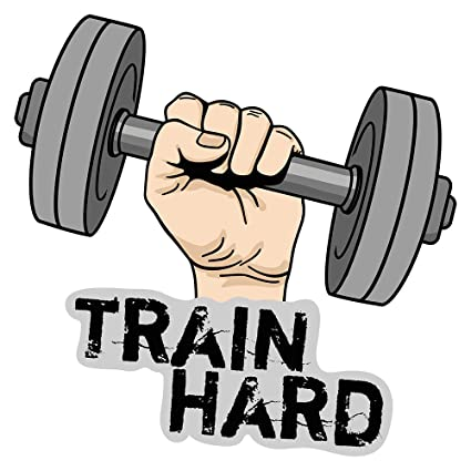 Pegatina de pared Motivo a mano con mancuernas y letras Train Hard motivo deportivo para pegar