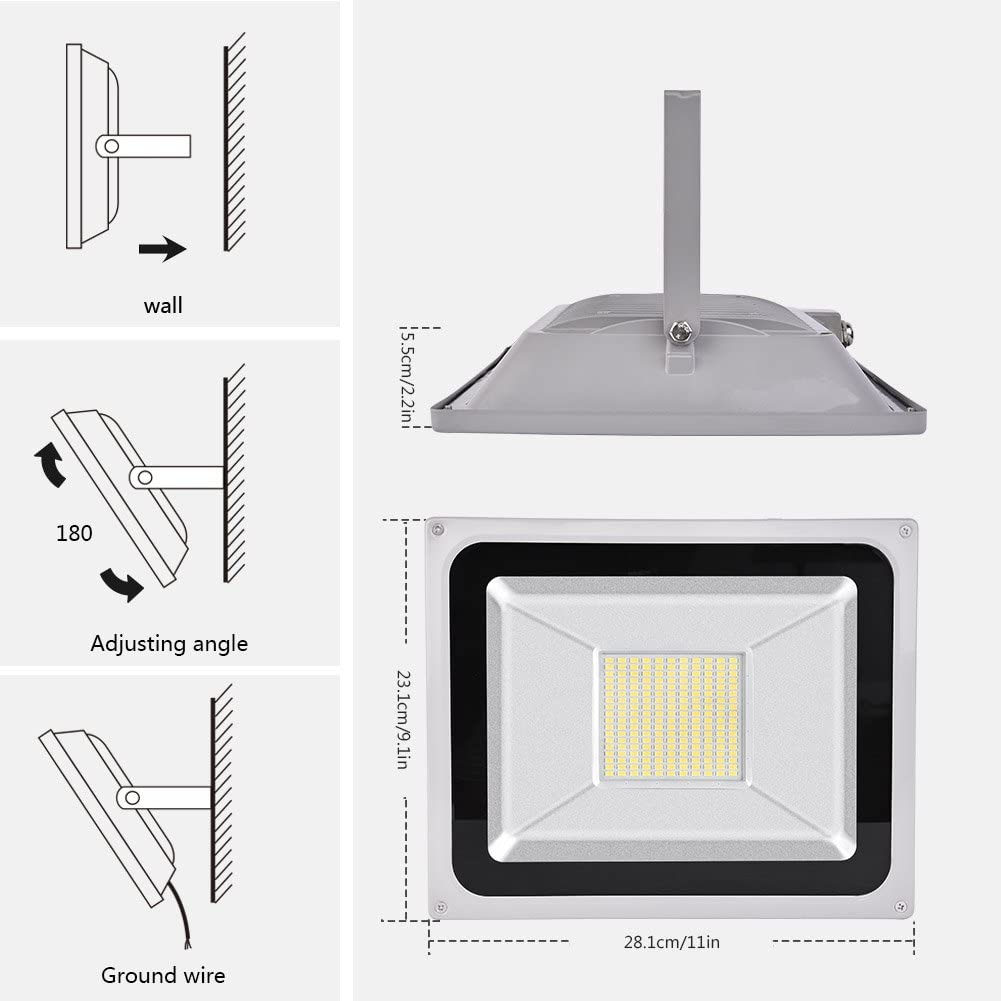 500W LED Flood Light, Spotlight esterno, bianco freddo (6000-6500K), impermeabile IP65, AC 200-240V, Super Bright, 50000LM,CE, ROHS Certificazione 100w Cold White
