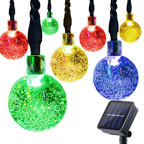 ifOlife Solar String Lights Outdoor 30 Led 21Ft Solar Power Waterproof Crystal Ball Fairy Twinkle Lights Multicolor for Decor Indoor Garden Corridor Party Wedding Chirtmas Tree