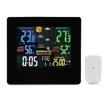 EleLight Estación Meteorológica Inalámbrica Pronóstico del Tiempo(RCC Radio Control Reloj, Medir Temperatura, Humedad, con Sensor, Alarma