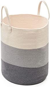 EZOWare Large Cotton Rope Storage Basket, Soft Woven Laundry Hamper with Handles for Bathroom Nursery Closet - Gradient Gray, 15 x 18 inch