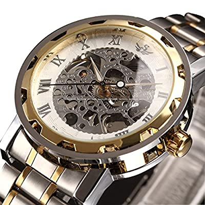 Watch,Mens Watch,Classic Skeleton Mechanical Stainless Steel Watch With Link Bracelet,Dress Automatic Wrist Hand-Wind Watch