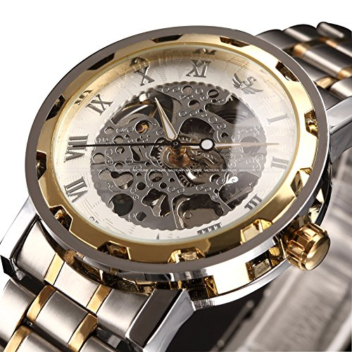 ALPS Mens Classic Skeleton Stainless Steel Mechnical Watch with Link Bracelet
