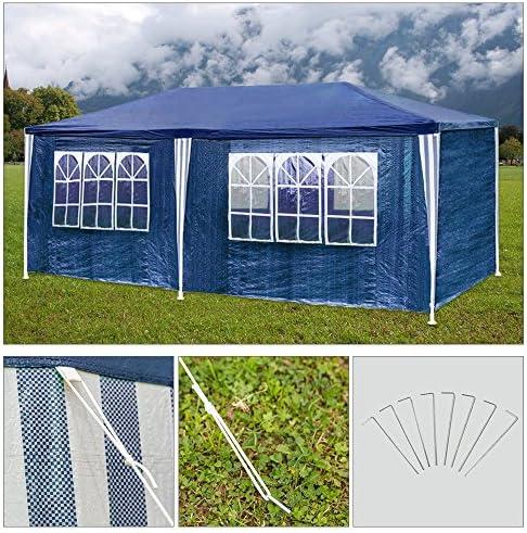 HGR carpas carpa 3x6m azul camping Posibilidad de playa construcción de acero Faltpavillon con gruesos postes de acero a prueba de agua adicionales ventana incl. 6 lados removibles marquesina: Amazon.es: Jardín
