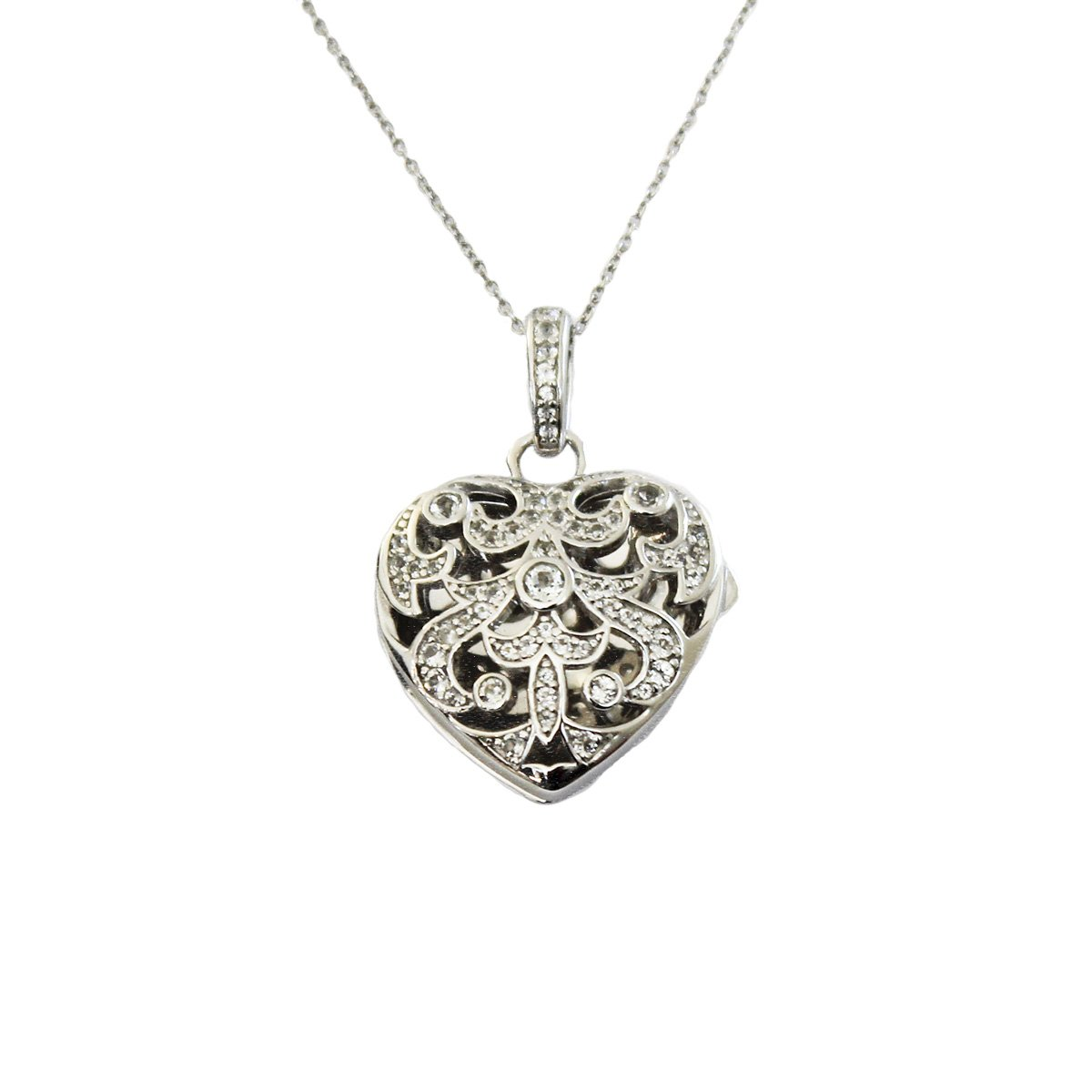 Sterling Silver-White Topaz-Heart Shaped-Custom Photo Locket Necklace-30-inch chain-The Deirdre by With You Lockets