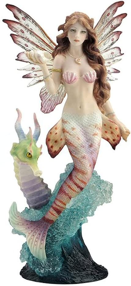 JFSM INC Lionfish Mermaid with Seahorse Dragon Statue