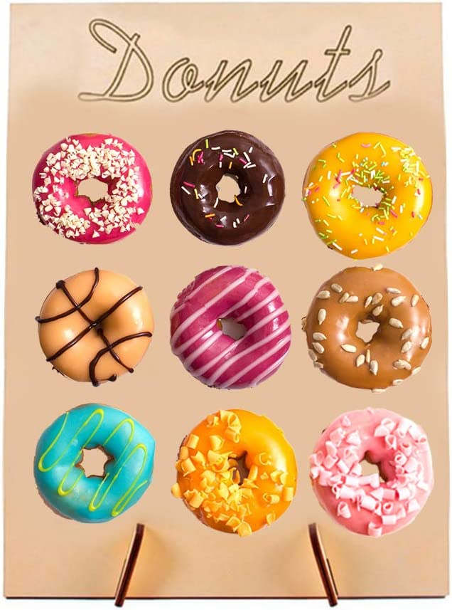 Leikance Wooden Donut Shows Stand,Donut Display Frame Decorative Stand Wedding Birthday Party Decorations