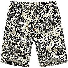 daqinghjxg New Summer Casual Japanese Linen Mens Shorts Floral Pattern Trousers Big Size