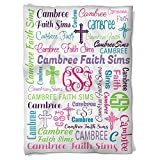 Have Faith Boutique Personalized Baby Blanket with Name- 30''x40''- Velveteen Fleece - cross faith