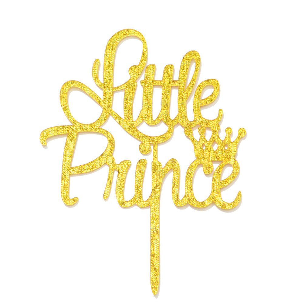 Qttier Little Prince with Crown Cake Topper, Boy Baby Shower Birthday Wedding Premium Quality Party Decorations with Cardboard Packaging (Gold)