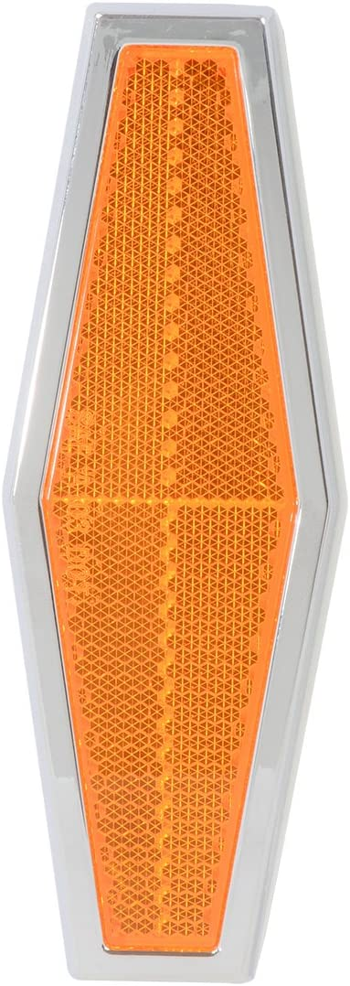 Trailers Grand General 80851 Amber Rectangular Stick-On Reflector with Chrome Plastic Trim For Trucks Towing 1 Pack RVs and Buses