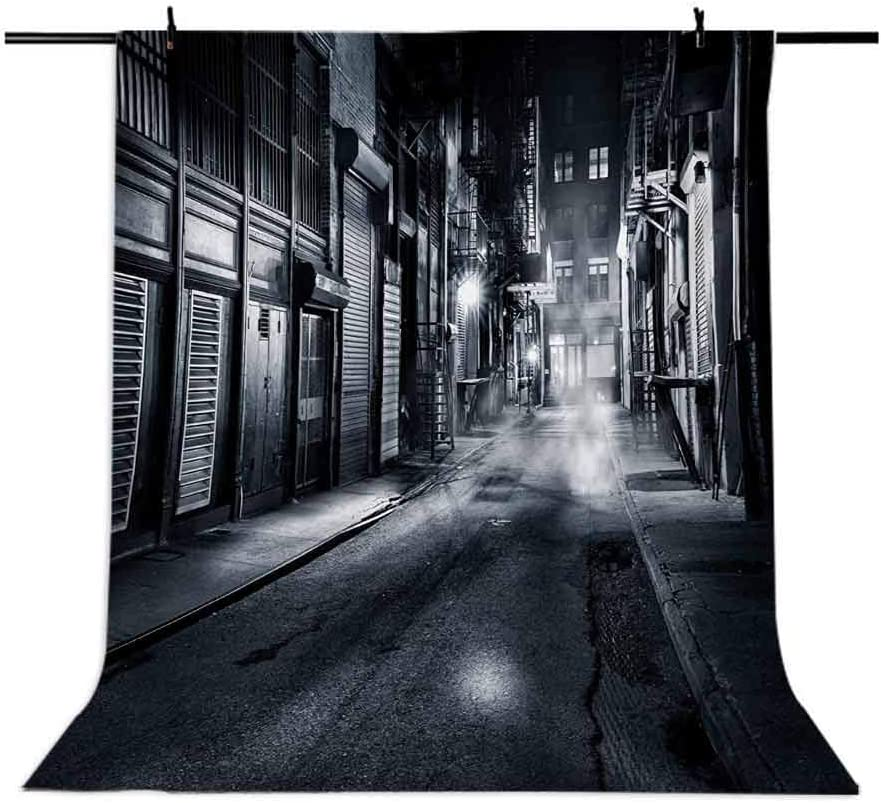 Night 10x12 FT Photography Backdrop Moody Monochrome View of Cortlandt Alley Chinatown New York City Dark Urban Scenery Background for Baby Birthday Party Wedding Vinyl Studio Props Photography