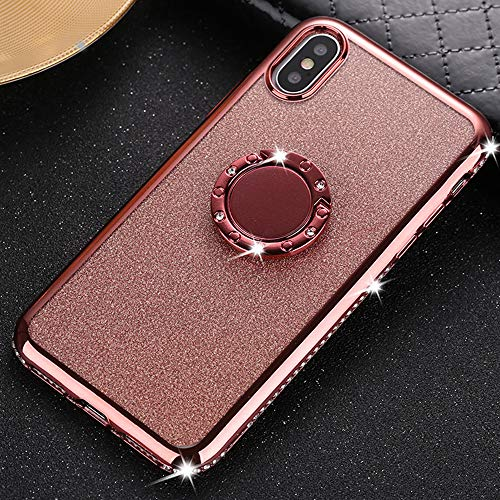 Glitter Case for iPhone XR 2-Way Bling Slim Flexible Soft TPU Silicone Protective Cover with Diamond Rhinestone Bumper Ring Kickstand (Rose Gold)