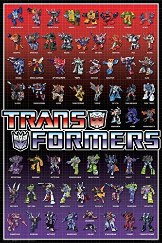 The Transformers Cast 59 Characters 36x24 Art Print Poster Wall Decor Movie TV Series Science Fiction