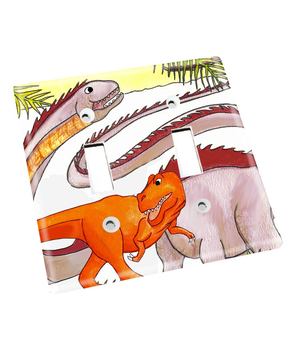 Two Friendly Dinos Nursery Bedroom Light Switch Cover LS0108 (Double Standard) by Toad and Lily