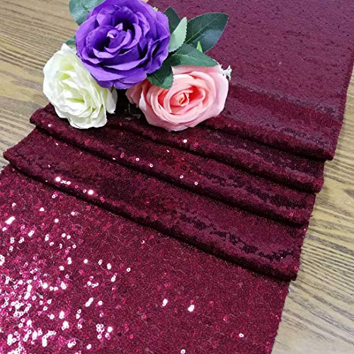 Wedding Decor 12x120-Inch Burgundy Sequin Table Runner Baby Shower Decorations in Rose Gold Table Runner for Party~0114E