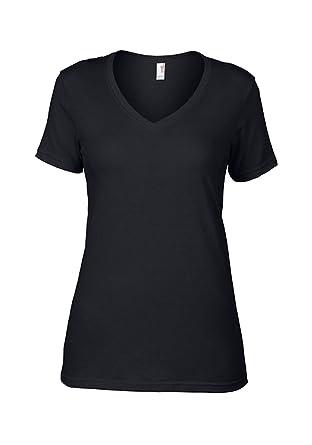 479fdfc81aaa45 Damen Featherweight V-Neck Tee Damen V-Ausschnitt T-Shirtl zum bedrucken  besticken  Amazon.de  Bekleidung
