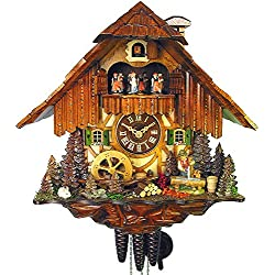 German Cuckoo Clock 1-day-movement Chalet-Style 14.00 inch - Authentic black forest cuckoo clock by August Schwer