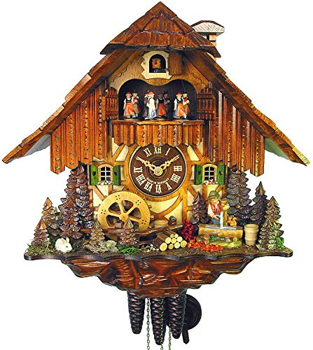 - German Cuckoo Clock 1-day-movement Chalet-Style 14.00 inch - Authentic black forest cuckoo clock by August Schwer