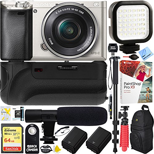 Sony Alpha a6000 24.3MP Silver Interchangeable Lens Camera w/ 16-50mm Power Zoom Lens (ILCE6000L/S) - Battery Grip & Shotgun Mic Pro Video (Sony Shotgun Mic)