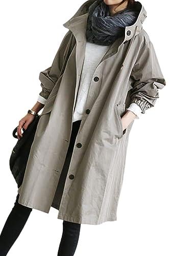 La Mujer Casual Con Capucha Drawstring Botón BF Estilo Gabardina Outwear