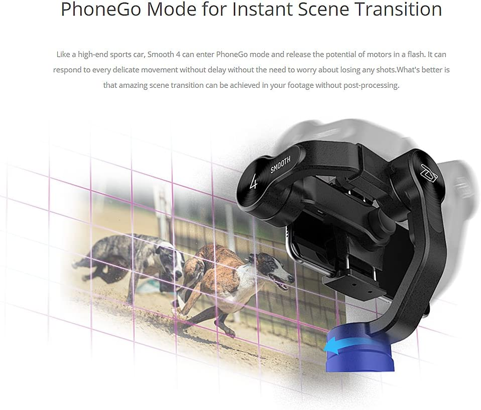 Focus Pull /& Zoom Capability Two-Way Charging /& 12h Runtime Black Object Tracking Phonego Mode for Instant Scene Transition Zhiyun Smooth 4 3 Axis Handheld Gimbal Stabilizer Timelapse Expert
