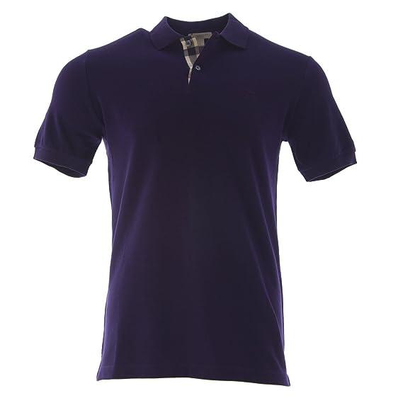 Burberry Brit Men s Check Placket Pique Dark Royal Purple Polo Shirt Modern  Fit (Small) bd07ad861d84