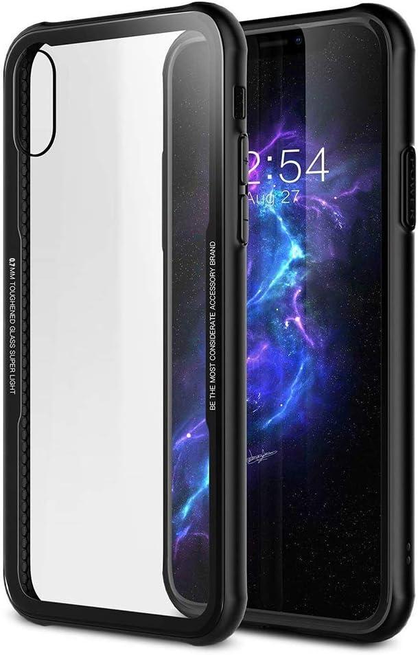 Funda Carcasa de Cristal Templado 12H Transparente Anti Arañazos- Imita la Parte Trasera de Cristal del Dispositivo + Marco de Silicona Suave Color Negro Anti Golpes y Caídas - para Apple iPhone 7 y 8