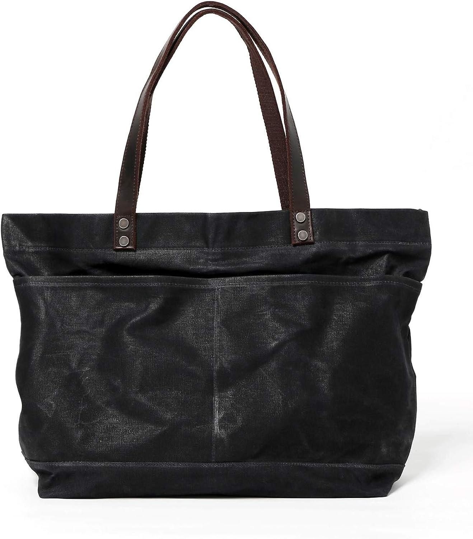 Jeelow Waxed Canvas Shoulder Tote Weekender Bag Travel Handbags For Men & Women Leather Handles Water Resistant