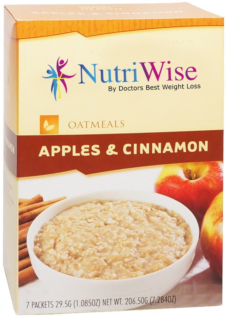 NutriWise - High Protein Diet Oatmeal | Apples & Cinnamon | Low Calorie, Low Fat, (7/Box) by NutriWise