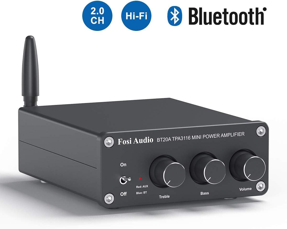 BT20A Bluetooth 4.2 Audio estéreo Receptor amplificador de 2 canales Mini Hi-Fi Clase D Amplificador integrado 2.0CH para altavoces domésticos 100W x 2 con control de graves y agudos TPA3116