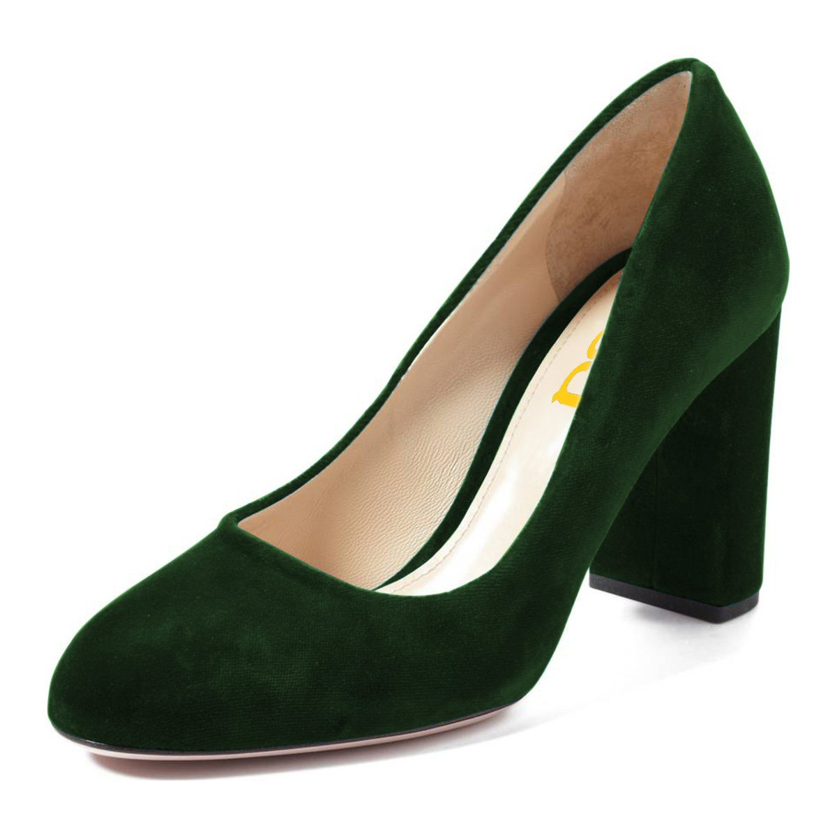 FSJ Women Classic Round Toe Velvet Pumps Chunky High Heels Slip On Office Dress Shoes Size 4-15 US B0784B35H9 14 M US|Green