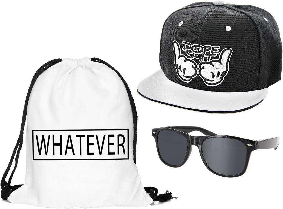 Casquette et lunettes Outfit Set 4 Kit ensemble de 3 accessoires noir blanc : Sac pas cher convenables pour adultes et ados unisex fille gar/çon homme femme look Hip Hop cool sympa jeune sportif