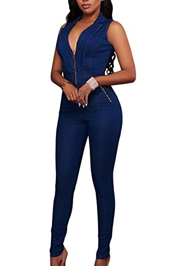 d52f83de7a1 Zilcremo Women Casual Sleeveless V Neck Denim Full Length Jumpsuits Romers  Darkblue S