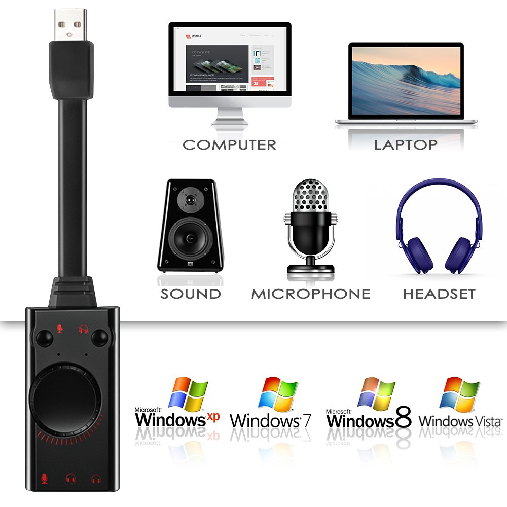 No Drivers Needed AFUNTA Audio Adapter Cable AFUNTA 2.0 USB External Sound Card Adapter Compatible Mac OS Linux PC Laptop Windows