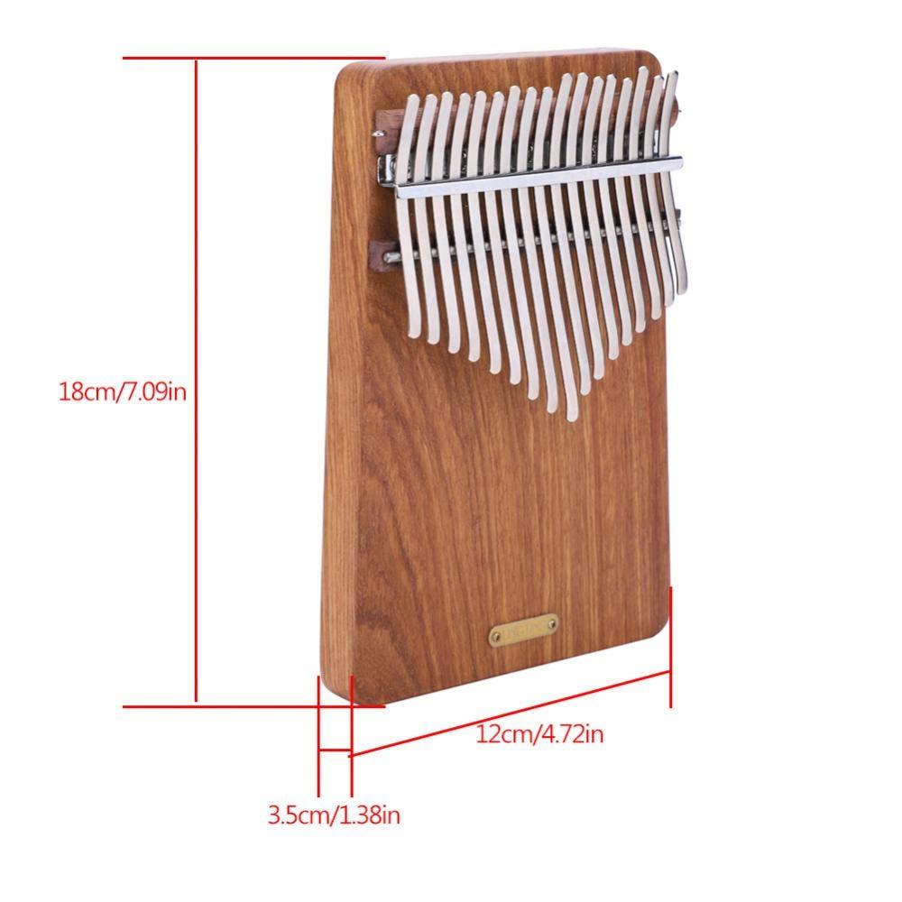 17 keys Kalimba Thumb Piano kit,Portable Thumb Piano Pterocarpus Erinaceus Wooden Body with Tuning Hammer,Pickup,Decorative Tassel Chain,Tremolo chain,Carry Bag by Yosoo- (Image #6)