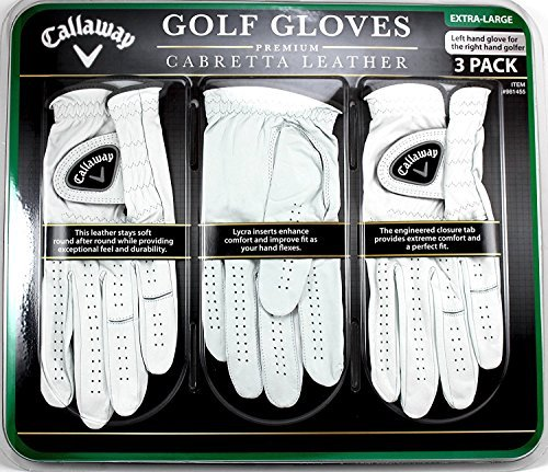 Callaway Golf Gloves Medium 3-Pack Cabretta Leather White by Callaway