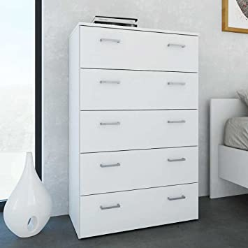 Pharao24 Schlafzimmer Kommode in Weiß 5 Schubladen: Amazon.de: Küche ...