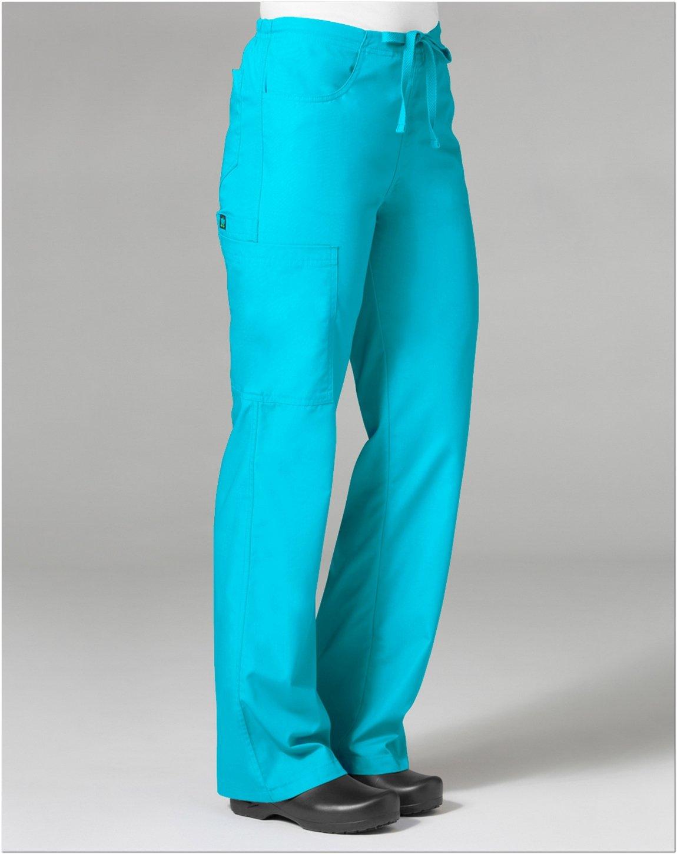 Core By Maevn Women's Boot Cut Cargo Scrub Pant Medium Lake Blue
