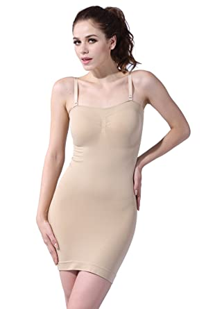 dd1e291a9551 Franato Women's Seamless Body Shaper Slimming Tube Dress Shapewear Slips  Small Beige