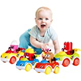 LUKAT 1 Year Old Boy Gifts, Toddler Toy Cars Set of 4 Friction Powered Cars, Pull Back Cars Cartoon Push and Go Friction…