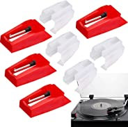 Turntable Replacement Needles, Turntable Cartridge Replacement Stylus Needles with Red Ruby Tip Vinyl LP Record Player Acces