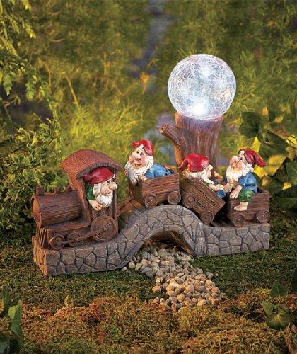 Outdoor solar train with gnomes garden decor for Solar garden ornaments outdoor decor