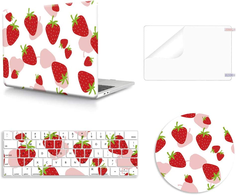 WYGCH 4 in 1 Plastic PC Hard Case Shell with Keyboard Cover with Screen Protector with Mouse Pad for MacBook Pro 13 inch Case 2019 2018 2017 2016 A2159 A1989 A1706 A1708 with Touch Bar,Strawberry