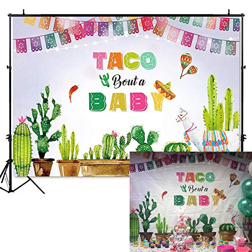 Mocsicka Mexican Baby Shower Backdrop Taco Bout a Baby Party Photography Background 7x5ft Vinyl Fiesta Theme Baby Shower Party Backdrops]()
