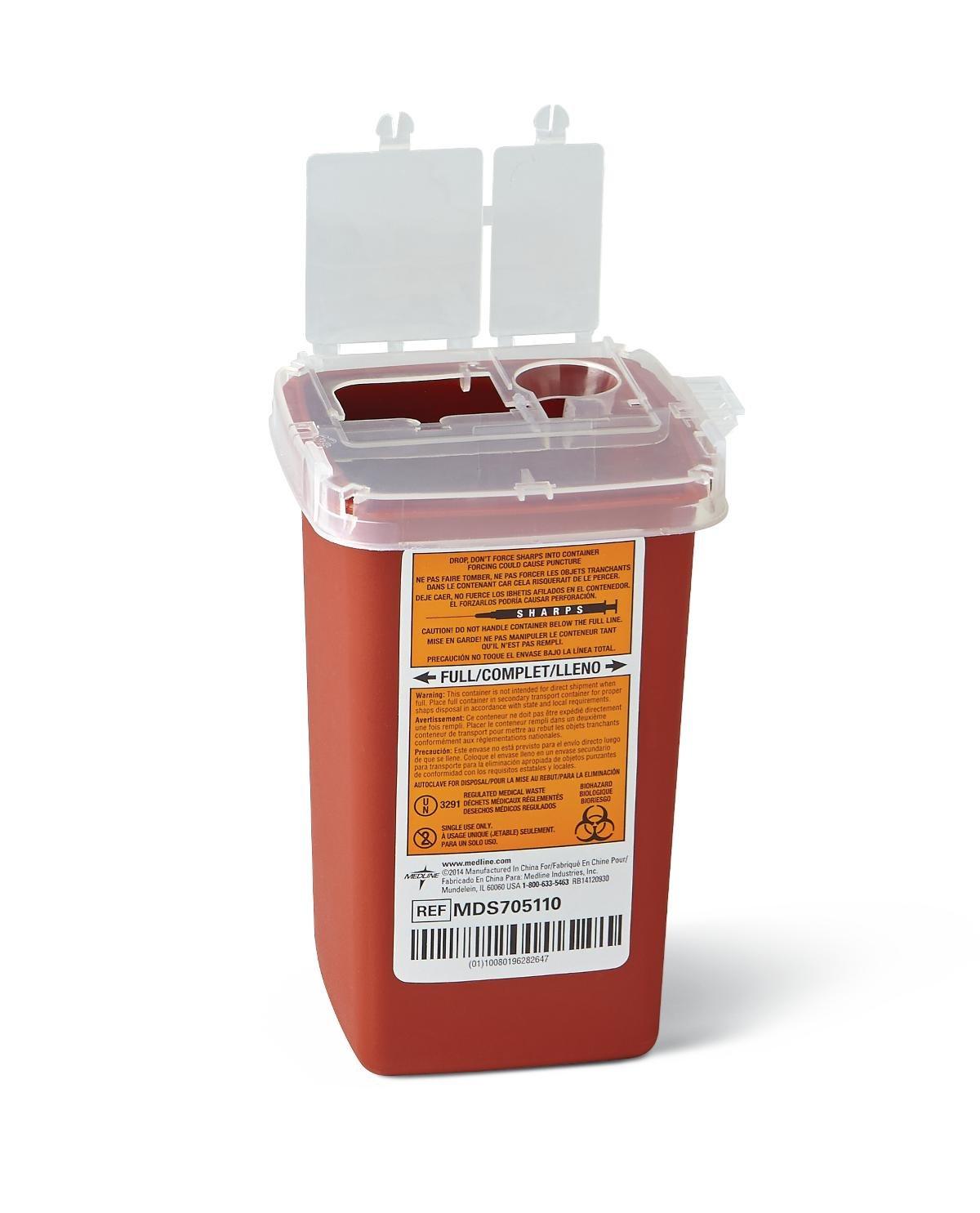 Medline Sharps Container, Bio-hazard Needle Disposal Container, 1 Quart (100 Pack) by Medline