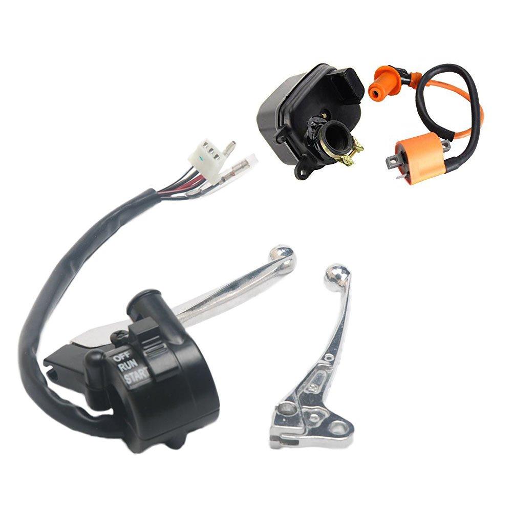 Oxoxo faciles à gauche côté droit de frein d'accélérateur boîtier Manette de frein pour Yamaha Pw50PW 50Y-zinger sont livrés avec bobine d'allumage et filtre à air Cleaner Box Boîtier