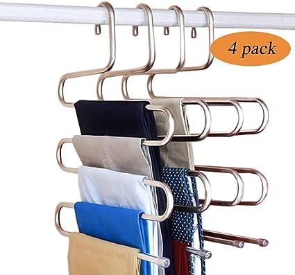 toallas y m/ás ahorro de espacio Juego de 4 perchas de acero inoxidable para pantalones pantalones organizador para bufandas vaqueros corbatas toallas varios pantalones estructura de tipo S